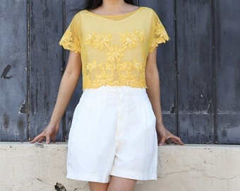 Sequin Top Beaded Top Yellow Flowers Cropped Top