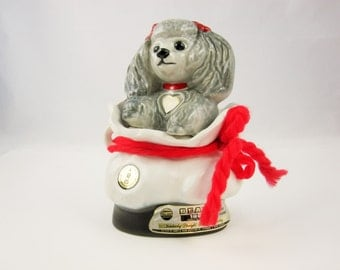 A 'Tiffiny' Jim Beam Bottle - Poodle Collector Decanter From Jim Beam - Grey Poodle - Gift Bag and Bow - 'Genuine Regal China' Handcraft