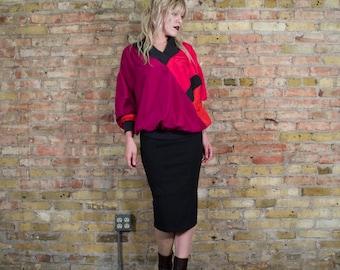 ellobium 80s SILK blouse / oversized top / colorblock silk / sporty / minimalist top / slouchy silk top / silk pullover / fuchsia hot pink