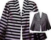 90's Striped Jacket in Black and White Lightweight - Size Medium