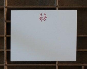 Letterpress Crab Note Cards - Set of 6