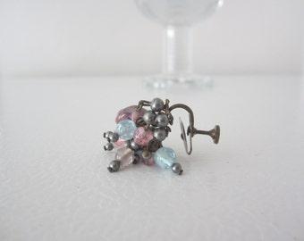 Beaded Earrings, Screw Back Earrings, Vintage Stone Earrings, Dangle Earrings, 50's Earrings, Blue and Purple Earrings, Glass Bead Earrings