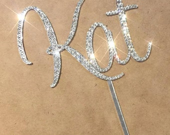 Swarovski Crystal Personalised Cake Topper - One Name or Word