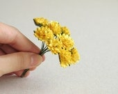 15mm Yellow Paper Dahlia - 10 mulberry paper flowers with wire stems - Great for wedding favor & packaging [143]