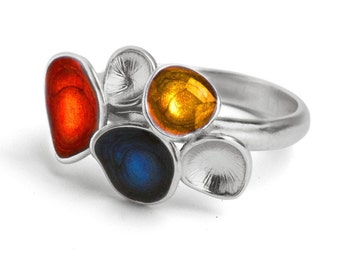 Enamel ring,  Red and yellow ring, colorful jewelry, blue silver ring, enamel jewelry, geometric ring, round shaped jewelry, statement ring