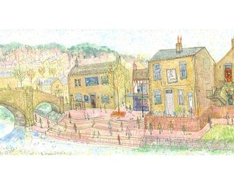 Hebden Bridge Print, Yorkshire Art, English Market Town Houses, Giclee print from Watercolour Painting, Pencil Drawing by Clare Caulfield