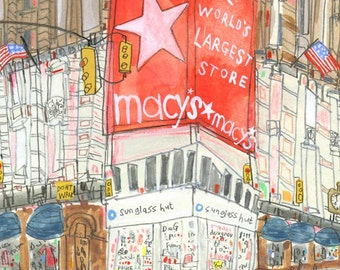 MACYS NEW YORK Art Print, New York City Taxi, Signed print Nyc Wall Art Herald Square New York Watercolor, Macys painting, New York Shopping