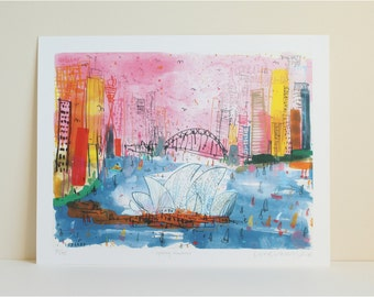 SYDNEY PRINT, Opera House Sydney Harbour Art, Signed Giclée Print, Mixed Media City Painting, Bright Colour, Australia Wall Art, Cityscape
