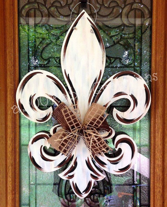 FANCY Fleur De Lis, Unfinished Wooden Shape, Paintable Wood Craft