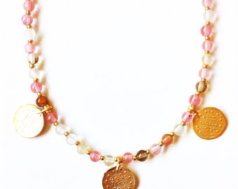 Odessa Rose Quartz and Gold Coin Necklace //gemstone necklace //gifts for women