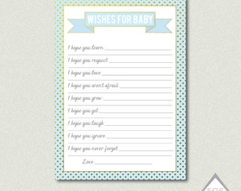 Wishes for Baby Boy Cards, Wishes for Baby Printable, Blue and Gold Baby Shower, Baby Wishes Printable, Printable Baby Shower Games,Download