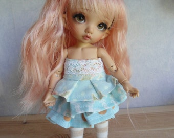 Turquoise summer dress set for Pukifee and similar sized dolls