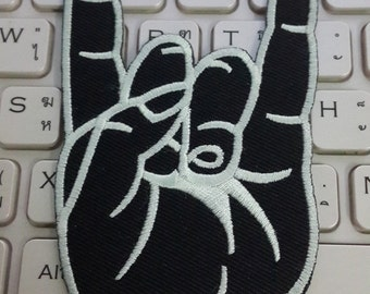 Rock Hand Iron on Patch - Rock Hand Applique Embroidered Iron on Patch