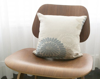 """16""""x16"""" Beige / Blue / White Floral Throw Pillow Cover"""