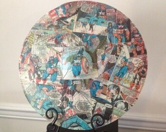 Captain America Comics on a drum cymbal