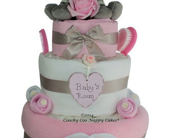 Three Tier Zebra Nappy Cake New Baby Gift