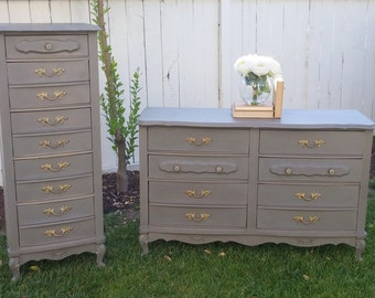 SOLD TO EMMA  -  Gorgeous French Provincial Grey Dresser Set-Lingerie Dresser, Nursery Changing Table, French Country Vintage Furniture