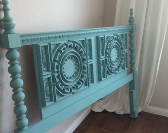 SOLD-------------------------Gorgeous Turquoise/Teal Vintage Full/Queen Headboard-Ornate Solid Wood Headboard