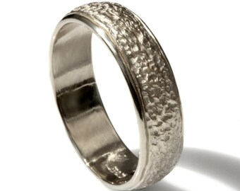 6.5mm wide Hammered wedding band, 14k white Gold wedding band, rustic wedding band, men gold band, women's classic gold band, textured band