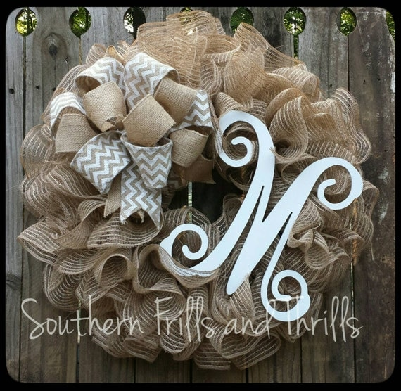 Burlap Monogram Wreath Monogram Wreath Burlap Wreath With