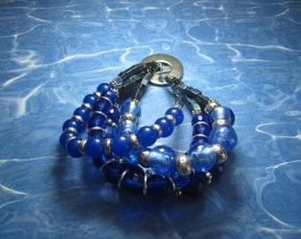 Chunky Royal Blue, Crystal, Stone and Foiled Beaded Bracelet