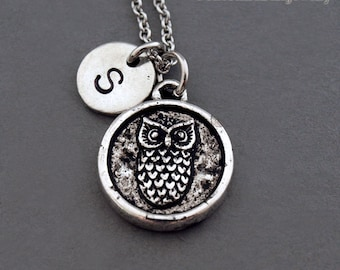 Owl charm necklace, owls, owl charm jewelry, birds, initial necklace, initial hand stamped, personalized, antique silver, monogram