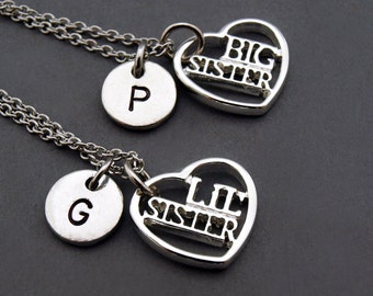 Big sister necklace, Llittle sister, Baby sister, Best sisters necklaces, Sister jewelry, Friendship necklaces, initial necklace, monogram
