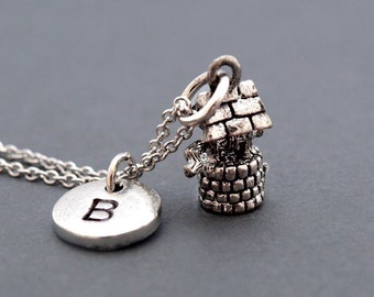 Wishing well necklace, Well charm jewelry, good luck charm, lucky charm necklace, initial necklace, personalized, antique silver, monogram