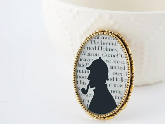 Sherlock Holmes Brooch - Sherlock Holmes Jewelry - Gold Book Brooch - Literature Jewelry