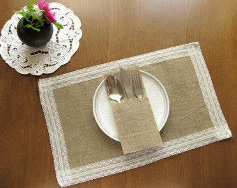 burlap and lace placemats set of 2 table wedding placemats rustic table decor