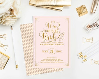"Bridal Shower Invitation - ""Here Comes the Bride"" Printable Bridal Shower Invitation - Pink and Gold Invitation"