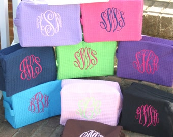 Monogrammed Cosmetic Bags Waffle Weave 10 Colors