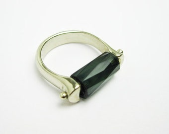 8Ct.Tourmaline Ring, 14K White Gold, Fancy Cut Vintage ca.1985, Tampico SF USA.