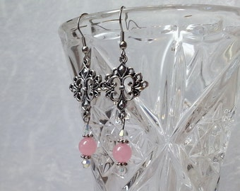 Boho Chic Earrings - Silver Flower Chandelier Earrings - Silver and Pink Earrings - Gypsy Earrings