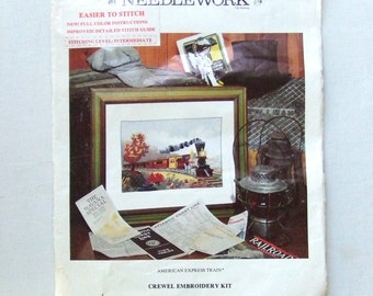 American Express Train Crewel Embroidery Kit Currier and Ives DIY