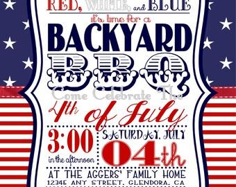 5 x 7 inch 4th of July Backyard Barbecue (BBQ) Invitation