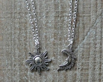 Silver Sun And Moon Necklaces, Pair Of Celestial Necklaces, Sun Necklace, Moon Necklace Friendship Necklaces, Best Friends Necklaces