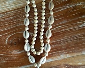 Shell Tassel Necklace- Boho Long Wooden Beaded, Cotton Chunky Tassel, Beach Cowry Shell Necklace