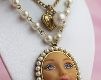 Gold Barbie Doll Face Necklace | Dollfaced