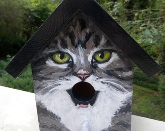 Bird House Hand Painted Custom Gray Tabby Cat Design Wood Outdoor
