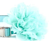 Aqua Shabby Chic Collar Flower - Light Aqua Robins Egg Blue Turquoise Detachable Dog Collar Flower for Weddings