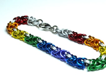 Byzantine Chainmaille Bracelet | Hand Crafted Chainmaille Jewelry | Handmade Bracelet | Rainbow and White | Anodized Aluminum