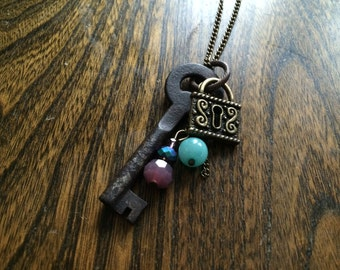 Antique Key Necklace with Lock Charm