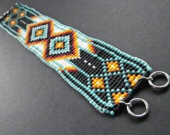 Beadwoven Bracelet- Handmade- 8 Inch- Turquoise- Black- Orange- White- Native American- Southwestern Inspired Design- Made by Karen