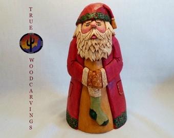Hand Carved Santa, Wooden Santa, Santa Collectible, Heirloom Santa, Christmas Decor