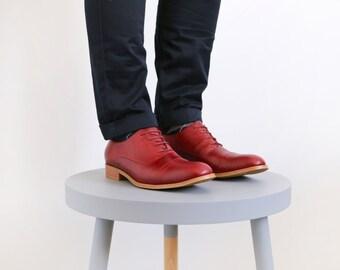 Mens Oxford shoes Burgundy leather brogue , handmade Oxfords ADIKILAVLast pair