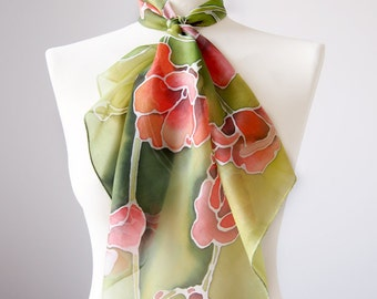 20% off silk scarf Poppies with imperfection - hand painted silk scarves - red and green silk scarf - ready to go! - discount