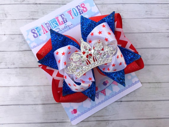 4th OF JULY PRINCESS Bows - Future Miss Usa - Star Spanged Cutie Bows - 4th of July Party - Girls Hair Bows - Toddler, Infant, Big girls Bow
