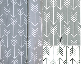 """BLACKOUT LINED,Grey Arrows, Curtains With Grommets, 100% Blackout, Pair Drapery Panels, Choose Color, Width 24"""" or 50"""",Blackout Lined,ARROWS"""