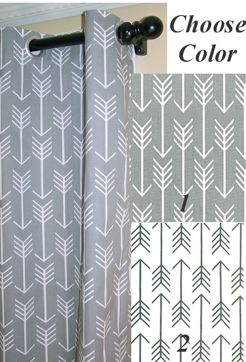 BLACKOUT LINEDGrey Arrows Curtains With by Cathyscustompillows